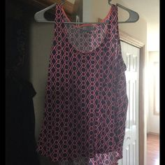 Jcpenney patterned Tank top Excellent condition jcpenney patterned tank top. Neon pink and navy blue. Linen. Size XL jcpenney Tops Tank Tops