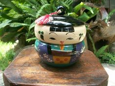 1950s Vintage Japanese Girl Lacquer Kokeshi Bento Trinket Box Stacking Storage Compartments