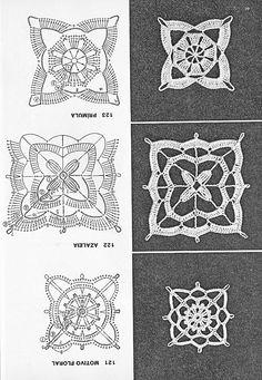 Coisas da Léia - Resgate de boas sensações: Quadrados de Crochê (Square) Crochet Mandala Pattern, Crochet Blocks, Granny Square Crochet Pattern, Crochet Chart, Crochet Squares, Thread Crochet, Crochet Granny, Crochet Doilies, Filet Crochet