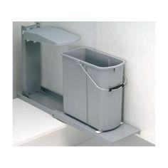 Einbau Abfallsammler 19 L GRAU mit Auszug Wesco ohne Bioeinsatz ab 25 cm Schrankbreite Mülleimer