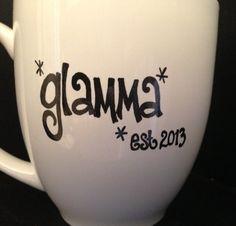 New GLAMMA Mug  Est Year Cute Pregnancy by BabyCakeLane on Etsy, $9.95