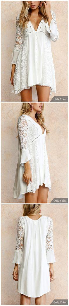 White Lace Details V Neck Long Sleeves Mini Dress