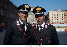 head and shoulders of Two Arma Dei Carabinieri Italian police officers on duty in Piazza Venezia Rome Lazio Italy - Stock Image Police Uniforms, Police Officer, Italian Police, Hot Cops, Men In Uniform, Rome Italy, Skin Tight, Marine Corps, Military History