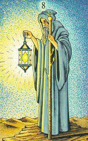 Hermit - tarot in de herstelde orde - silent reflection & inner wisdom The Hermit Tarot, Tarot Astrology, Online Tarot, Tarot Major Arcana, Star Of David, Tarot Decks, Archetypes, Tarot Cards, Art Lessons