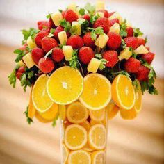 Tree Fruits Centerpiece. Anotheruse for those glass vases.