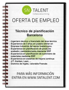 #Empleo Técnico de Planificación en #Barcelona
