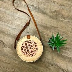 Taj Roundie Rattan Bag in Natural Leather Tooling, Leather Clutch, Boho Bags, Vintage Leather, Rattan, Purses And Bags, Wallets, Bamboo, Natural