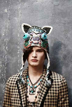 Many of the models sported animal hats that were embroidered and embellished to the extreme.