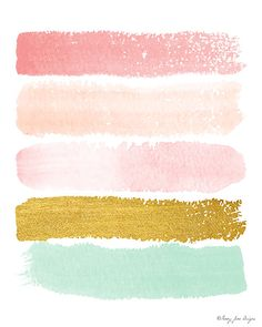 Pink Gold & Seafoam Green Paint Strokes Digital por PennyJaneDesign
