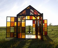 Modern Stained Glass at Designsponge. Especially the geode windows.
