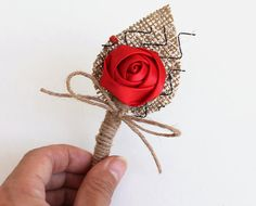 Set 4 Red Rose Flower Boutonniere Natural Eco Friendly Burlap Boutonniere