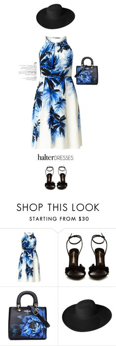 """""""Halter dress"""" by ellyg91 ❤ liked on Polyvore featuring Adrianna Papell, Sophia Webster, Dorfman Pacific, prints, polyvoreeditorial, polyvorecontest and halterdresses"""