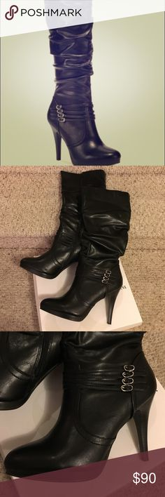 """🎄🎄NWT- style & co black heeled boots! These black heeled boots are gorgeous and brand new in the box! Made of man-made materials, with a zipper closure and a 4.5"""" heel. The boot height is 15"""" and measures 17"""" around the calf. Style & Co Shoes Heeled Boots"""