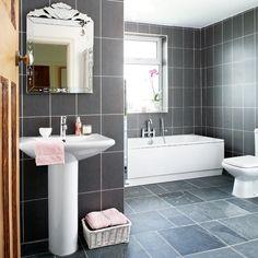 Grey bathroom tiles by greyish - maybe we could have white grout on wall and dark on floor Grey Modern Bathrooms, Black Bathroom Sets, Teal Bathroom Decor, Grey Bathroom Tiles, Gray And White Bathroom, Silver Bathroom, Bathroom Images, Glass Bathroom, Modern Bathroom Design