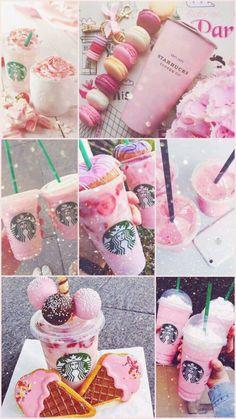 Pink with Starbucks Bebidas Do Starbucks, Starbucks Secret Menu Drinks, Starbucks Recipes, Starbucks Coffee, Pink Starbucks, Coffee Coffee, Starbucks Birthday, Coffee Tumbler, Beer Recipes