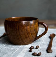 Japanese Wooden Tea Cup Coffe Mug Milk Cup Handle by woodenbright