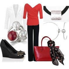 A fashion look from March 2013 featuring sleeve tops, white jacket and zipper pants. Browse and shop related looks. Black Pants Outfit, Vivienne Westwood Anglomania, Red Shirt, Work Attire, Spring Fashion, What To Wear, Fashion Looks, Fashion Tips, Cute Outfits