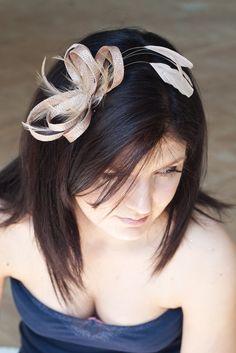 Latte/beige fascinator  with feathers - sinamay loops, bridesmaid headpiece