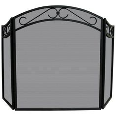 UniFlame 3 Panel Arch Top Scrolls Fireplace Screen - S-1088