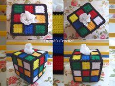 ..❀Dinah's Crochet❀..: Crochet Rubik's Cube Tissue Box Cover