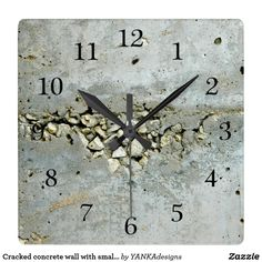 15% Off with code BIZCARDSDEAL Cracked concrete wall with small stones large clock