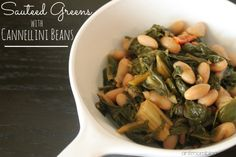 Sauteed Greens with Cannellini Beans | The Anti Mom Blog Make with your favorite greens + 21 Day Fix approved!