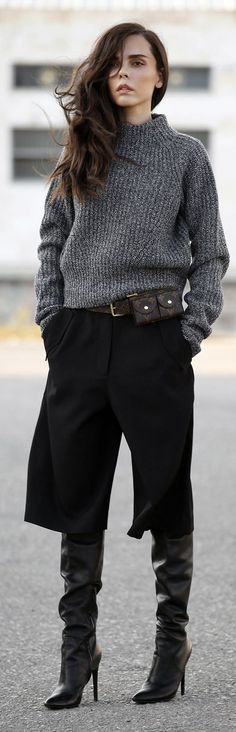 Black Wide Bermuda-length Culottes, by Styleheroine with gray sweater... fot the cooler nights! (Would also work with flat-heeled boots for a more casual look!)