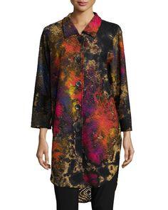Painterly-Print Knit Button-Front Shirt, Women's, Size: 2X (20/22), MULTI/BLACK - Caroline Rose