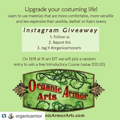 #Repost @organicarmor with @repostapp.  Okay we're going to try an Instagram #giveaway! Costumers cosplayers performers crafters from beginners to professionals will benefit from learning this art form. Random drawing 11/11 at 11.  Winner receives full #onlinecourse accessible to anyone in the world who can stream video. Go to OrganicArmorArts.com to learn more about it  .... 1. Follow us 2. Repost this image 3. Tag it #organicarmorarts ... #nosewing #cosplay #Bellydance #bellydancecostume…
