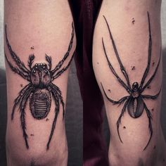Two spiders for Alex, thank you for your trust :) #spiders #blacktattoo…
