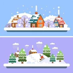 Vector Flat Winter Village Landscapes - Landscapes Nature