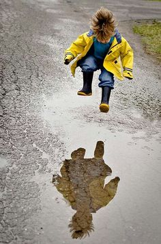 Jumping puddles #puddles #childhood #rain