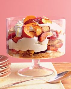Stone-Fruit Trifle with Lemon Mousse:Store-bought pound cake works well in this recipe. Or take the trifle to the next level with our almond sponge cake. (Link to recipe is included.) This recipe is equally delicious with peaches, nectarines, or plums. Fruit Trifle, Trifle Desserts, Just Desserts, Delicious Desserts, Yummy Food, Plum Desserts, Peach Trifle, Fruit Dessert, Lemon Desserts