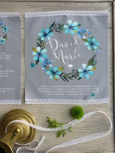 """faire-part mariage tissu, collection """"couronne fleur"""" de la boutique latelierinspire sur Etsy"""