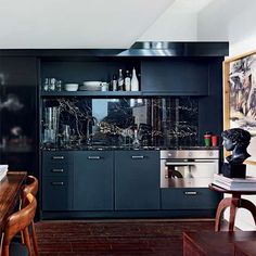 Kitchen | Take a look inside a dark, dramatic apartment | Real life homes | PHOTO GALLERY | Livingetc