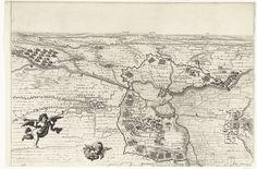 Anonymous | Kaart van het beleg van Diksmuide (bovenblad), 1647, Anonymous, 1647 | Kaart van het beleg van het plaatsje Diksmuide in Vlaanderen op de Fransen door de Spanjaarden onder bevel van landvoogd Leopold Willem. Bovenste helft van een kaart bestaande uit drie losse bladen. Centraal de stad Diksmuide met de circumvallatielinie om de stad en de legerplaatsen van de belegeraars. Links twee engeltjes.