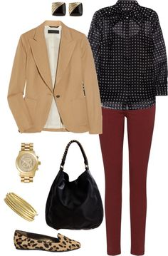 polka dot blouse   camel blazer  gold watch     Five Ways To Wear Burgundy Jeans