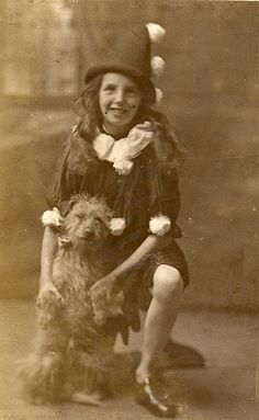 A pierot and her dog