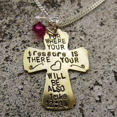 Bible Verse Necklace Luke 1234  Hand by DesignByAnyOtherName, $22.00
