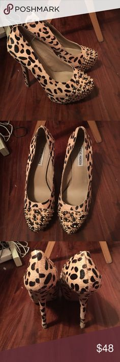 Spiked cheetah print Steve Madden heels Spiked cheetah print, fairly used, size 10, 4 inch Steve Madden Shoes Heels