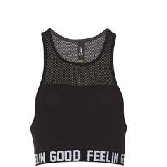 Crop Mesh Sporty Tank ($15) ❤ liked on Polyvore