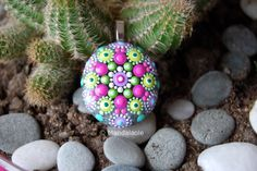 Image of Colorful Mandala Pendant Stone 20