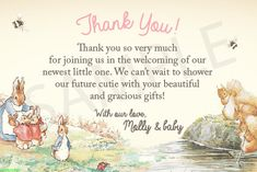 Peter Rabbit Baby Shower Thank You Card Vintage by strangers