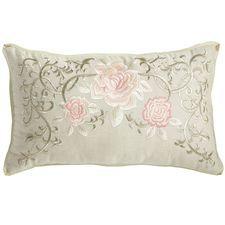 Romantic Glam Embellished Floral Lumbar Pillow