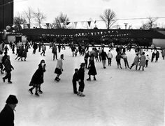 I am probably in this picture, it was taken in 1960 according to the pin.  It was the largest outdoor rink in the country at that time.  Oh how times have changed!  What fun we had!