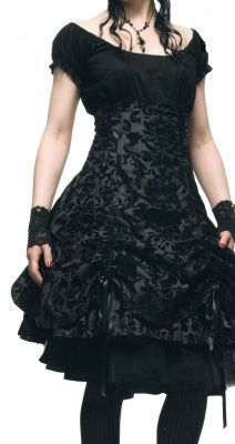 Spin Doctor - Joanna Skirt - Black Victorian Flocked Pattern - high-waisted skirt shown with petticoat underneath - love it
