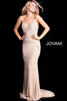 Nude Silver Beaded V Neck Fitted Prom Dress 57612
