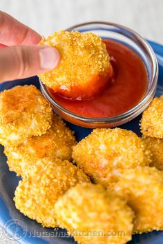These baked chicken nuggets are beautifully golden without having to pre-bake the crumbs. They are low fat, tender, juicy and kid friendly.