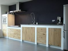Kitchen with counter: 60 ideas of different projects with balcony - Home Fashion Trend Loft Kitchen, Rustic Kitchen, Diy Kitchen, Kitchen Interior, Kitchen Decor, Küchen Design, House Design, Concrete Kitchen, Cool Kitchens