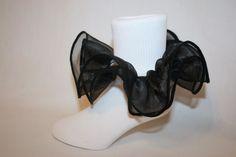 Girls Soft White Nylon Bobby Socks with Black Organza Ruffle  #SocksForAPrincessLLC #AnkleSocks